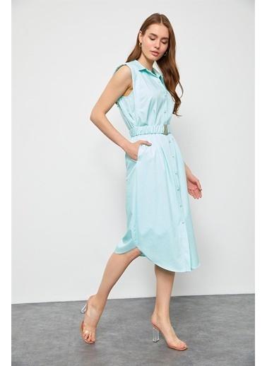 Setre Şeftali Kehribarı Kemerli Poplin Gömlek Elbise Mavi